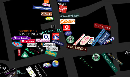 Map of chain shops in Oxford