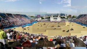 Collage of the Greenwhich equestrian arena