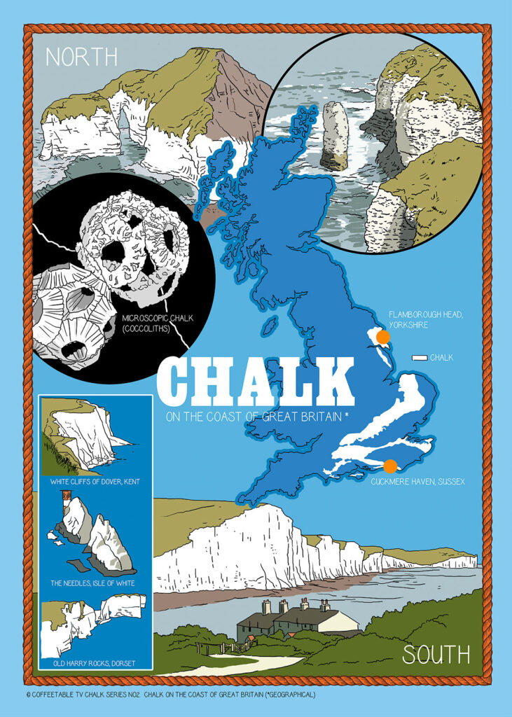 Tea towel with map of UK chalk